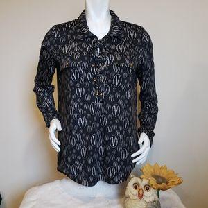 Printed Jersey Lace Up Shirt
